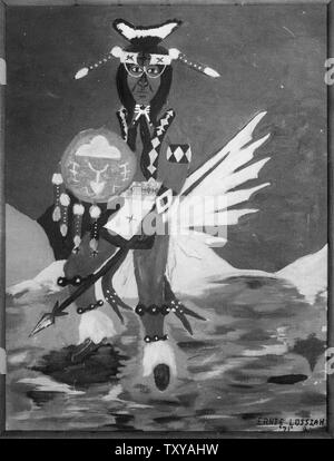 Cherokee High School Student's Painting of a Native American with a Spear and Shield. - Stock Photo