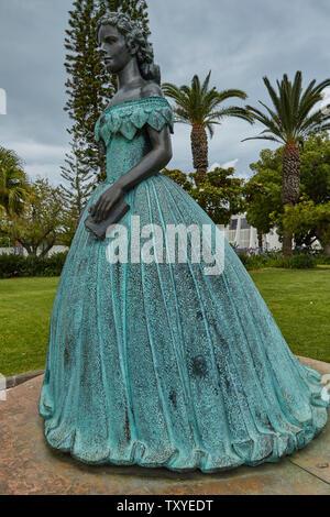 Statue of Imperatriz Sissi, in the Pestana Casino Park Hotel Garden, Funchal, Madeira, Portugal, - Stock Photo