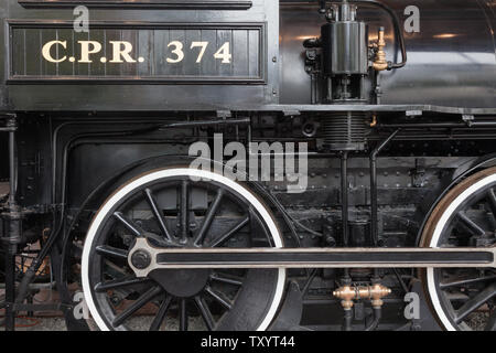 Restored locomotive No 374 of the Canadian Pacific Railway which was the first train to carry passengers from Montreal to Vancouver arriving on May 23 - Stock Photo