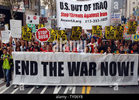Protesters march through downtown Los Angeles against the war in Iraq, as part of a national day of protest on October 27, 2007. United for Peace and Justice, the largest anti-war coalition in the U.S., has organized 11 massive anti-war rallies in cities across the United States and In an additional 2 dozen cities. (UPI Photo/Jim Ruymen) - Stock Photo
