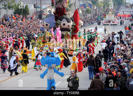 The 2008 Olympic-themed Chinese float 'One World, One Dream', winner of the Theme trophy takes part in the 119th annual Rose Parade in Pasadena, California on January 1, 2008.  (UPI Photo/Jim Ruymen) - Stock Photo