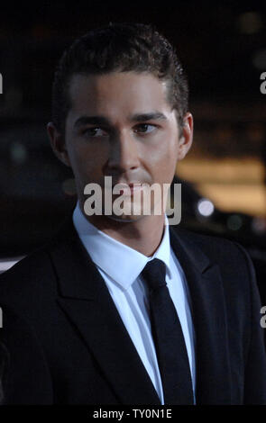 Shia LaBeouf, a cast member in the motion picture thriller 'Eagle Eye', attends the premiere of the film at Grauman's Chinese Theatre in the Hollywood section of Los Angeles on September 16, 2008.   (UPI Photo/Jim Ruymen) - Stock Photo