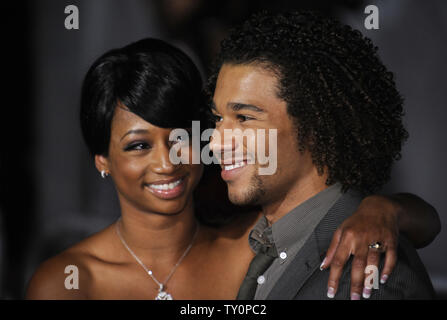Cast members Monique Coleman (L) and Corbin Bleu attend the premiere of 'High School Musical 3: Senior Year' in Los Angeles on October 16, 2008. (UPI Photo/ Phil McCarten) - Stock Photo