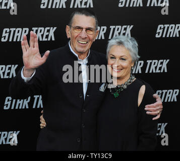 Leonard Nimoy, a cast member in the sci-fi adventure motion picture 'Star Trek', attends the premiere of the film with his wife Susan Bay at Grauman's Chinese Theatre in the Hollywood section of Los Angeles on April 30, 2009. (UPI Photo/Jim Ruymen) - Stock Photo