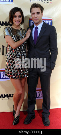 Dustin Milligan, a cast member in the motion picture comedy 'Extract', attends the premiere of the film with his girlfriend, actress Jessica Stroup at the Arclight Cinerama Dome in Los Angeles on August 24, 2009.    UPI/Jim Ruymen - Stock Photo