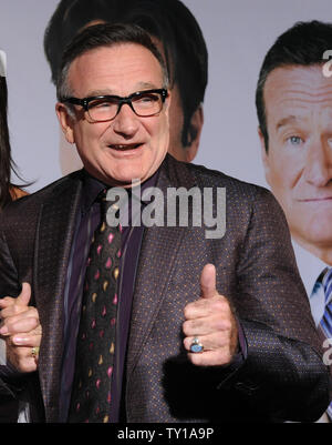Actor Robin Williams, seen in this file photo attending the premiere of  'Old Dogs', at the El Capitan Theatre in the Hollywood section of Los Angeles on November 9, 2009, was found dead in Marin County, California on August 11, 2014.  He was 63.   UPI/Jim Ruymen - Stock Photo