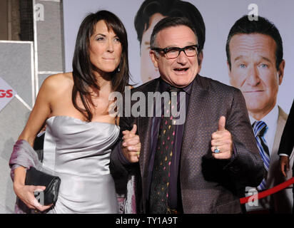 Actor Robin Williams, seen in this file photo attending the premiere of  'Old Dogs' with Susan Schneider at the El Capitan Theatre in the Hollywood section of Los Angeles on November 9, 2009, was found dead in Marin County, California on August 11, 2014.  He was 63.   UPI/Jim Ruymen - Stock Photo