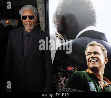 Actor Morgan Freeman arrives at the Los Angeles premiere of director Clint Eastwood's biographic drama motion picture 'Invictus' in Beverly Hills, California on December 3, 2009. Freeman portrays Nelson Mandela and Damon portrays South African Springboks national rugby union player Francois Pienaar in the film. Nelson Mandela, in his first term as the South African President, initiates a unique venture to unite the apartheid-torn land: enlist the national rugby team on a mission to win the 1995 Rugby World Cup.     UPI/Jim Ruymen - Stock Photo
