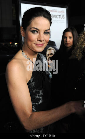 Actress Michelle Monaghan, a cast member in the new biographic drama motion picture 'Invictus', attends the premiere of the film in Beverly Hills, California on December 3, 2009. Morgan Freeman portrays Nelson Mandela, in his first term as the South African President, who initiates a unique venture to unite the apartheid-torn land: enlist the national rugby team on a mission to win the 1995 Rugby World Cup.     UPI/Jim Ruymen - Stock Photo