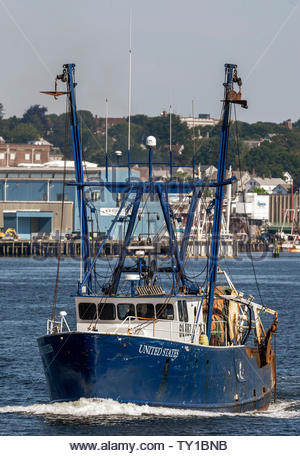 New Bedford, Massachusetts, USA - June 24, 2019: Commercial fishing vessel United States going fishing - Stock Photo