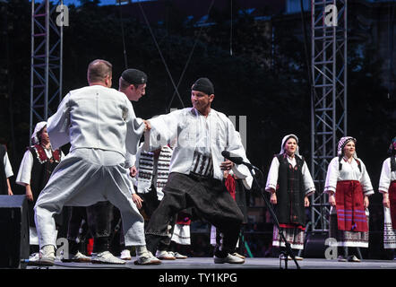 Zagreb, Croatia. 25th June, 2019. Artists from the National Folk Dance Ensemble of Croatia LADO perform during the Zagreb Classic Open Air Festival in Zagreb, Croatia, June 25, 2019. Credit: Sandra Simunovic/Xinhua/Alamy Live News - Stock Photo