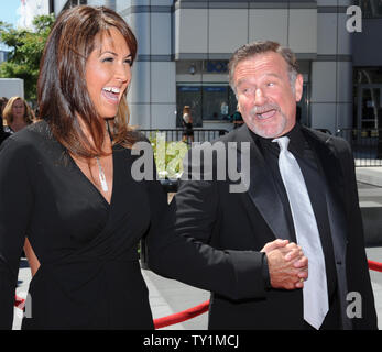 Actor Robin Williams , seen in this file photo with Susan Schneider arriving at the Creative Arts Emmy Awards in Los Angeles on August 21, 2010., was found dead in Marin County, California on August 11, 2014. He was 63.    UPI/Jim Ruymen - Stock Photo
