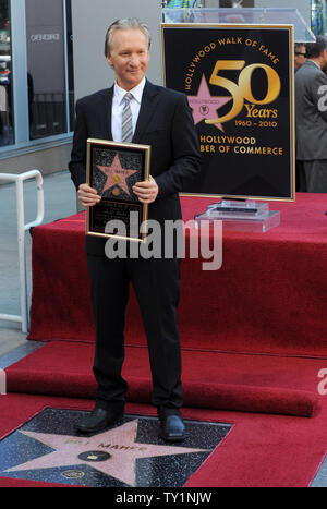 Comedian and television host Bill Maher stands next to his star during an unveiling ceremony honoring him with the 2,417th star on the Hollywood Walk of Fame in Los Angeles on September 14, 2010.     UPI/Jim Ruymen - Stock Photo