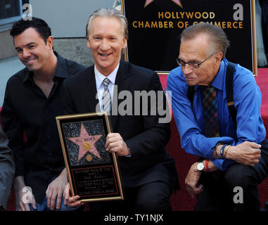 Comedian and television host Bill Maher (C) is joined by animator Seth MacFarlane (L) and broadcaster Larry King during an unveiling ceremony honoring him with the 2,417th star on the Hollywood Walk of Fame in Los Angeles on September 14, 2010.     UPI/Jim Ruymen - Stock Photo