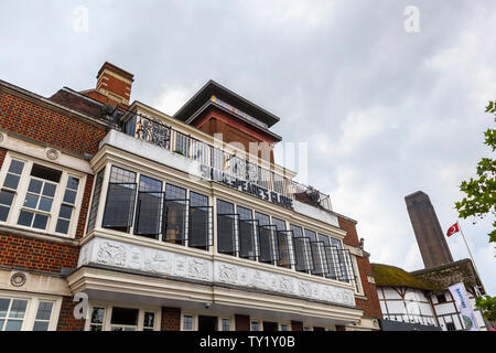 Front of the Swan Restaurant by Shakespeare's Globe on the South Bank of the River Thames Embankment, Southwark, London SE1 - Stock Photo