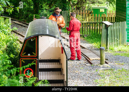 Laxey, Isle of Man, June 15, 2019.The Great Laxey Mine Railway was originally constructed to serve the Isle of Man's Great Laxey Mine, a lead mine - Stock Photo
