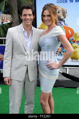 Actor James Marsden, the voice of Fred in the animated motion picture comedy 'Hop', arrives with his wife Lisa Linde at the premiere of film at Universal Studios in Universal City, California on March 27, 2011.   UPI/Jim Ruymen - Stock Photo