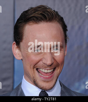 Tom Hiddleston, a cast member in the sci-fi motion picture 'The Avengers', attends the premiere of the film at the El CapitanTheatre in the Hollywood section of Los Angeles on April11, 2012.   UPI/Jim Ruymen - Stock Photo