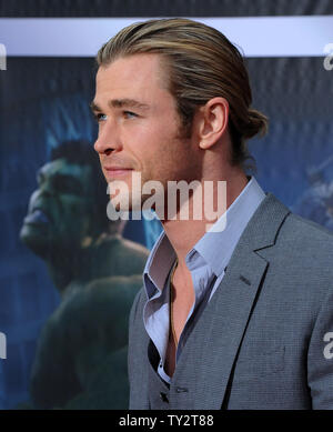 Chris Hemsworth, a cast member in the sci-fi motion picture 'The Avengers', attends the premiere of the film at the El CapitanTheatre in the Hollywood section of Los Angeles on April11, 2012.   UPI/Jim Ruymen - Stock Photo