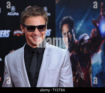 Jeremy Renner, a cast member in the sci-fi motion picture 'The Avengers', attends the premiere of the film at the El CapitanTheatre in the Hollywood section of Los Angeles on April11, 2012.   UPI/Jim Ruymen - Stock Photo