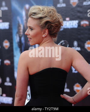 Scarlett Johansson, a cast member in the sci-fi motion picture 'The Avengers', attends the premiere of the film at the El CapitanTheatre in the Hollywood section of Los Angeles on April 11, 2012.   UPI/Jim Ruymen - Stock Photo