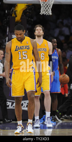 Los Angeles Lakers small forward Metta World Peace (15) and Pau Gasol (16) at the end of game 4 of the Western Conference Semifinals against the Oklahoma City Thunder at Staples Center in Los Angeles on May 19, 2012. The Thunder won 103-100. UPI /Lori Shepler
