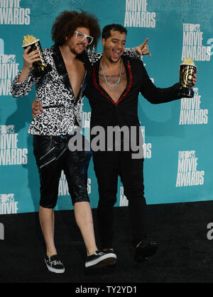Musicians Red Foo and Sky Blu of LMFAO appear backstage with the Best Music awards they won for 'Party Rock Album', during the 2012 MTV Movie Awards at the Gibson Amphitheatre in Universal City, California on June 3, 2012.  UPI/Jim Ruymen - Stock Photo