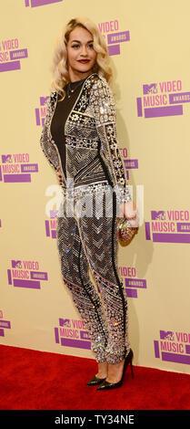 Singer Rita Ora arrives for the MTV Video Music Awards at Staples Center in Los Angeles on September 6, 2012.  UPI/Jim Ruymen - Stock Photo
