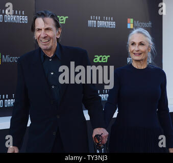 Leonard Nimoy, a cast member in the sci-fi motion picture 'Star Trek Into Darkness', attends the premiere of the film with his wife Susan Bay at the Dolby Theatre in the Hollywood section of Los Angeles on May 14, 2013.   UPI/Jim Ruymen - Stock Photo