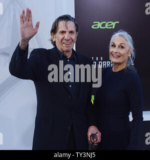 Leonard Nimoy, a cast member in the sci-fi motion picture 'Star Trek Into Darkness' , attends the premiere of the film with his wife Susan Bay at the Dolby Theatre in the Hollywood section of Los Angeles on May 14, 2013.   UPI/Jim Ruymen - Stock Photo