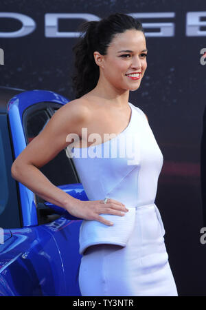 Michelle Rodriguez, a cast member in the motion picture crime thriller 'Fast & Furious 6', attends the premiere of the film at the Gibson Amphitheatre in Universal City, California on May 21, 2013.  UPI/Jim Ruymen - Stock Photo