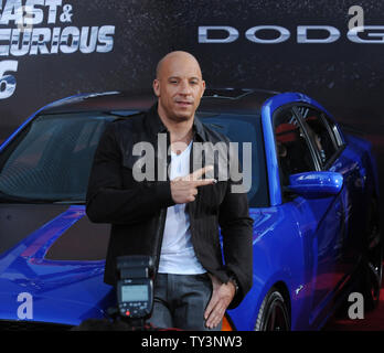 Vin Diesel, a cast member in the motion picture crime thriller 'Fast & Furious 6', attends the premiere of the film at the Gibson Amphitheatre in Universal City, California on May 21, 2013.  UPI/Jim Ruymen - Stock Photo