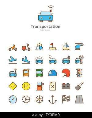 Set of line modern color icons for mobile and web design vector illustration 045 - Stock Photo