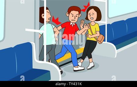 illustration of Public etiquette concept, how to behave in public places. 017 - Stock Photo