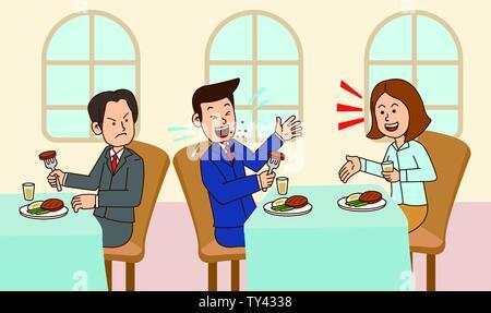 illustration of Public etiquette concept, how to behave in public places. 016 - Stock Photo