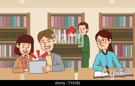 illustration of Public etiquette concept, how to behave in public places. 012 - Stock Photo
