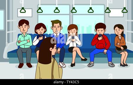 illustration of Public etiquette concept, how to behave in public places. 003 - Stock Photo