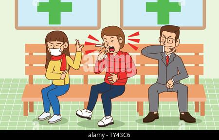 illustration of Public etiquette concept, how to behave in public places. 015 - Stock Photo