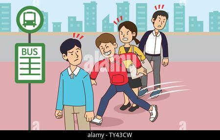 illustration of Public etiquette concept, how to behave in public places. 007 - Stock Photo