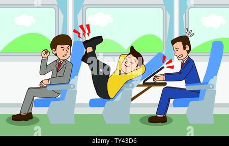 illustration of Public etiquette concept, how to behave in public places. 011 - Stock Photo