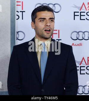 Cast member Oscar Isaac attends the premiere of the motion picture music drama 'Inside Llewyn Davis' attends the premiere of the film at TCL Chinese Theatre in the Hollywood section of Los Angeles on November 14, 2013. The story follows a week in the life of a young folk singer as he navigates the Greenwich Village folk scene of 1961. Guitar in tow, huddled against the unforgiving New York winter, he is struggling to make it as a musician against seemingly insurmountable obstacles -- some of them of his own making.  UPI/Jim Ruymen - Stock Photo