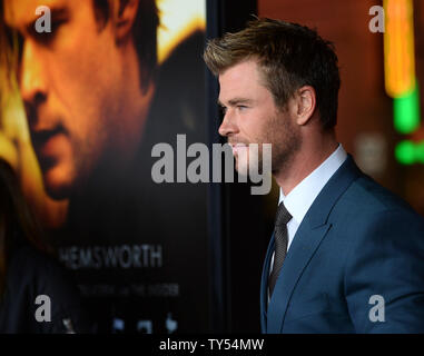 Cast member Chris Hemsworth attends the premiere of the motion picture crime thriller 'Blackhat' at TCL Chinese Theatre in the Hollywood section of Los Angeles on January 8, 2015. Storyline: A furloughed convict and his American and Chinese partners hunt a high-level cybercrime network from Chicago to Los Angeles to Hong Kong to Jakarta.  Photo by Jim Ruymen/UPI - Stock Photo