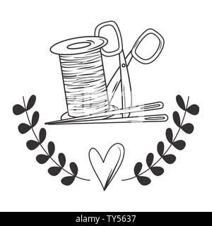 Scissor needle and thread tool design, Tailor shop fashion textile workshop sewing and clothing theme Vector illustration - Stock Photo
