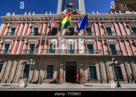 The Palacio Quemado official government residence, La Paz, Bolivia - Stock Photo
