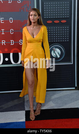 Model Gigi Hadid arrives on the red carpet for the 32nd annual MTV Video Music Awards at Microsoft Theater in Los Angeles on August 30, 2015. Photo by Jim Ruymen/UPI - Stock Photo