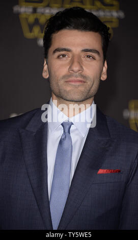 Cast member Oscar Isaac attends the premiere of the film 'Star Wars: The Force Awakens' held in the Hollywood section of Los Angeles on December 14, 2015.      Photo by Phil McCarten/UPI - Stock Photo