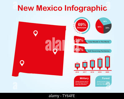 New Mexico State (USA) Map with Set of Infographic Elements in Red Color in Light Background. Modern Information Graphics Element for your design. - Stock Photo