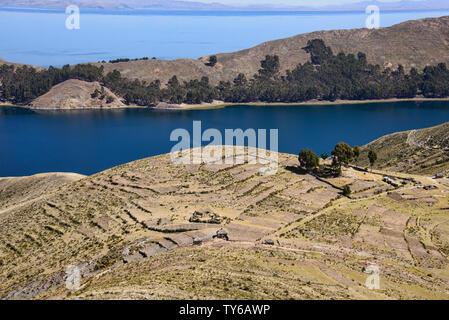 Traditional Inca terracing on Isla del Sol, Lake Titicaca, Bolivia - Stock Photo