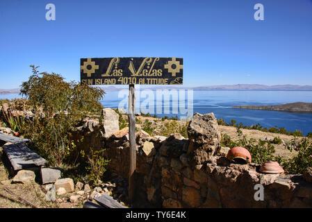 Las Vellas Restauran in Lake Titicaca from Isla del Sol, Bolivia - Stock Photo