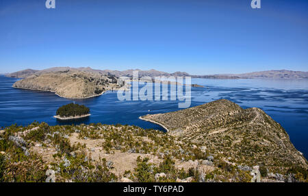 Panoramic view of Lake Titicaca from Isla del Sol, Bolivia - Stock Photo